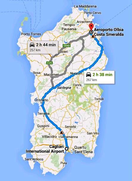 Mappa Km Sardegna.Viaggiare In Macchina Da Nord A Sud Della Sardegna