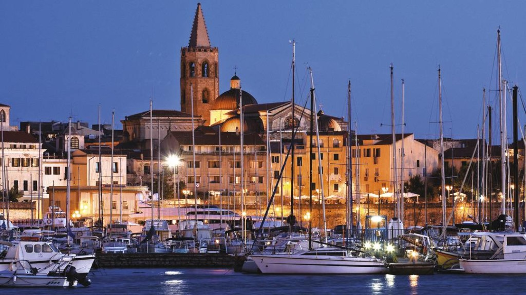 Alghero Sardinia The Harbor by night