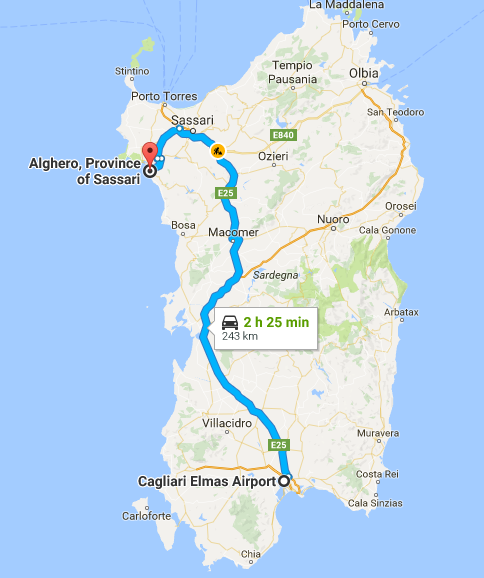 Travelling by car - from Cagliari airport to Alghero