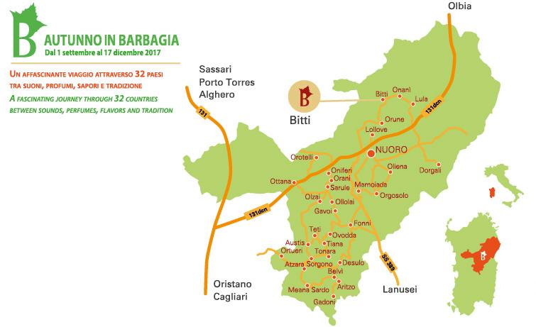 Villages involved in the event Autumn in Barbagia