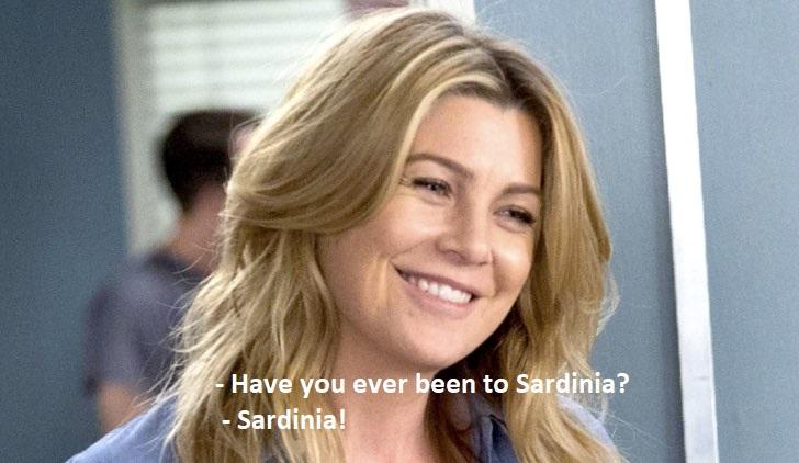 Grey's Anatomy talks about Sardinia