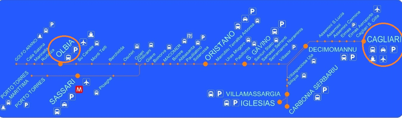 Train de Cagliari à Olbia