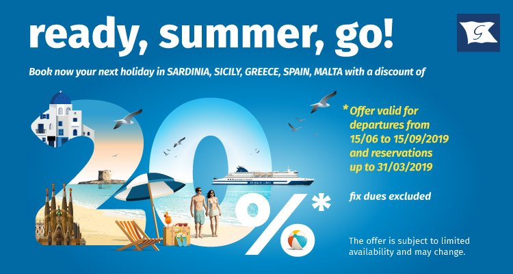 20% discount on ferries Grimaldi Lines Sardinia