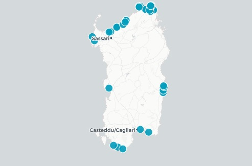 Mappa Spiagge Bandiera Blu Sardegna