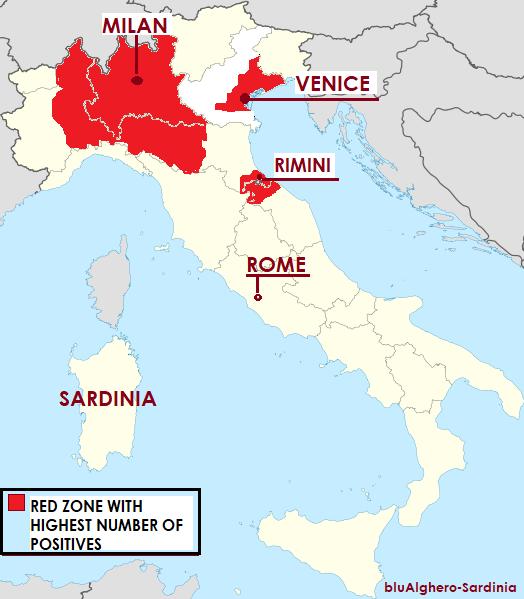 coronavirus italie map